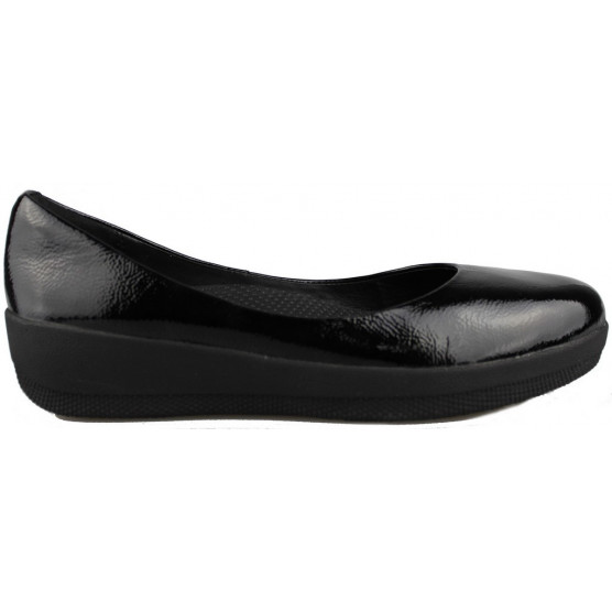 FITFLOP PATENT SUPERBALLERINA BLACK