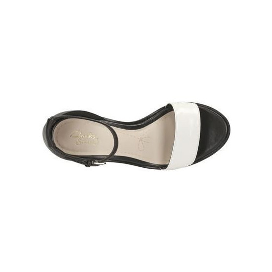 CLARKS DULCE MOLLY BLACK WHITE LEA  BLACK