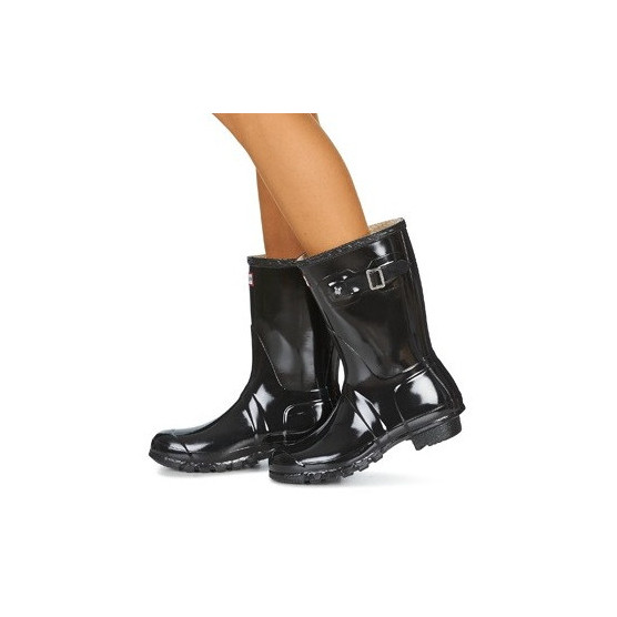 HUNTER WOMEN'S ORIGINAL SHORT GLOSS BOTIN  NEGRO